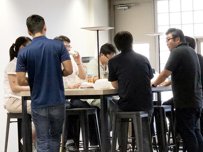 近年多くの企業に設置されているカフェスペース。T&Eにも。
