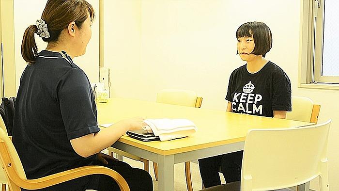 看護師による面談プログラムで体調面もケアしていきます。